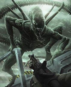 Some Alien,Predator and Engineer art. Saga Alien, Alien Film, Alien 1979, Arte Alien, Alien Skull, Alien Art, Alien Vs Predator, Predator Alien, Horror Comics
