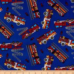 Timeless Treasures Firetruck Toss Royal fabric | fabric.com | $8.98/yd
