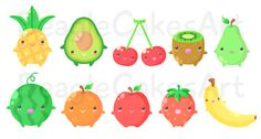 New fruity friends design :) Still brainstorming for more fruits!