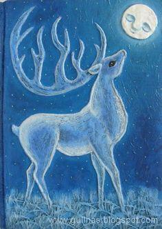 "✯ Gulnas' Kunstblog :: Handmade Notebook ""White Stag and Moon""✯"