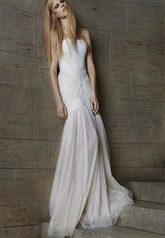 sultry bandage style wedding dress by Vera Wang (see more on bridalmusings.com)