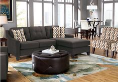 picture of Cindy Crawford Madison Place Slate 2Pc Sectional  from Sectionals Furniture