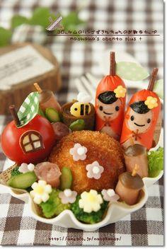 【ハムリンズお弁当のおかずコンテスト】コロッケ山のりんごずきんチャンのお散歩カップ* の画像|naohaha's obento*