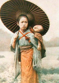 Japanese mother and child, babywearing art in 1919 book plate