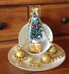 Christmas Tree Tea Cup Garden Tea Cup Christmas Centerpiece Tea Cup Xmas