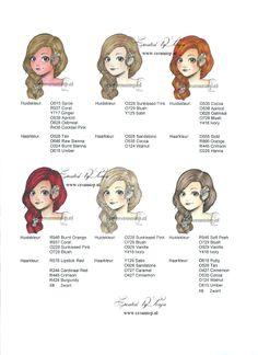 Gezichts kleuren ( haarkleur van licht naar donker) 4