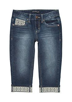 Imperial Star Crochet Roll Cuff Capri Jeans Girls 7-16