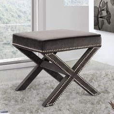 Shop Hayneedle's best selection of Meridian Furniture Inc to reflect your style and inspire your home. Find furniture & decor you love for the place you love most. Upholstered Storage Bench, Upholstered Ottoman, Pouf Ottoman, Grey Ottoman, Leather Pouf, Leather Ottoman, Trestle Legs, Meridian Furniture, Wood Storage Bench
