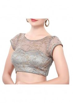 Grey blouse adorn in sequin embroidery only on Kalki Blouse Designs High Neck, Simple Blouse Designs, Stylish Blouse Design, Fancy Blouse Designs, Bridal Blouse Designs, Saree Blouse Designs, Choli Designs, Sari Bluse, Kurta Neck Design