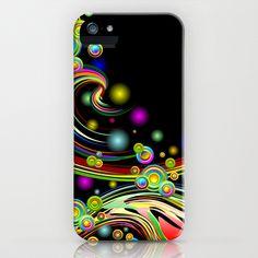 Abstract Swirls on Black iPhone & iPod Case by Bluedarkat Lem