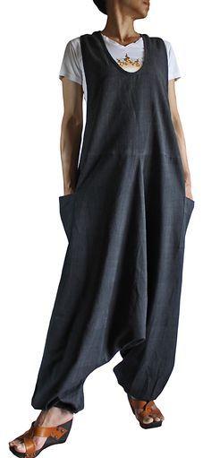 ChomThong Hand Woven Cotton Loose Aladdin Overalls (Charcoal Gray )