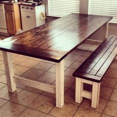 Stained and Distressed Farmhouse Table and Bench | Do It Yourself Home Projects from Ana White