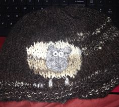 Hat made from wool I sheared from my Icelandic sheep and handspun at home.  Knitted for me by an Etsy shop, special order!  Wool of Louisiana