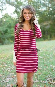 Carried Away Stripe Dress Red