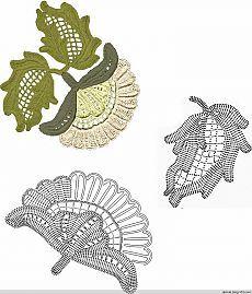 crochet flowers and leaves (Irish lace) (Crochet) Irish Crochet Patterns, Crochet Motifs, Crochet Diagram, Freeform Crochet, Crochet Chart, Crochet Stitches, Crochet Leaves, Crochet Flowers, Lace Flowers