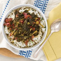 Mix and match hearty greens in this flavorful Pork and Greens Gumbo. Choose from kale, collards, mustard greens, or Swiss chard. Save Recipe Print Pork and Greens Gumbo Creole Recipes, Cajun Recipes, Veggie Recipes, Cooking Recipes, Soup Recipes, Cajun Cooking, Creole Cooking, Cajun Food, Louisiana Recipes
