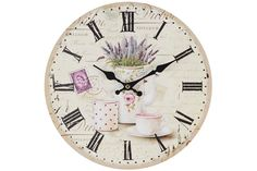 Home Decoration Vintage Style Shabby Chic MDF Lavender Scene Wall Clock with Roman Numerals and Decorative Hands Pendulum Wall Clock, Clock Wall, Lavender Walls, London Clock, Diy Clock, Hand Clock, Wall Clock Online, Country Paintings, Chicano