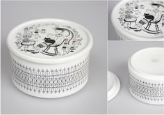 ARABIAのEMILIAシリーズのふた付きシュガーボウルです。  1950〜60年台にかけてのRaija Uosikkinenの作品です。猫を膝に乗せてティータイムを楽しむ、平和的な絵柄です。  全体的に大きなダメージはありません。 Sugar Bowl, Finland, Ceramics, Design, Ceramica, Pottery, Ceramic Art, Porcelain
