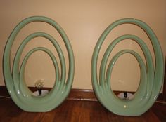 "Pair Of Mid Century Modern Retro Mint Green Ceramic Pottery Table Lamps 3 Ovals made by Limelight (16""W x 6""D x 21.5""H) starting bid $50 3/1/2015"