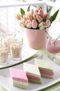 Cute colored Tea Sandwiches: