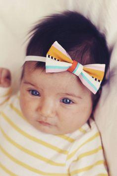 Baby Girl Headband Bow  Pastel Beach Stripes by LeetleChickenShop, $4.95