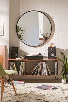 Cool 19 Attractive Home Decor Ideas For Vintage Living Room http://decoratio.co/2017/12/09/19-attractive-home-decor-ideas-vintage-living-room/ Looking for a way to decorate your living room? Here in this article, we provide 19 fresh ideas of how to turn yours into a vintage living room. House Goals, Urban Outfitters Furniture, Urban Outfitters Apartment, Urban Outfitters Bedroom, Console Mirror, Mirror Tv, Wall Mirrors, Metal Mirror, Record Player Console