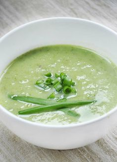 This creamy scallion soup has a lovely spring green color and subtle onion flavor. Ready in 25 minutes!   Gourmandelle.com