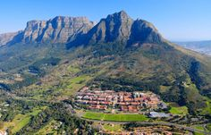 Great shot of University of  Cape Town's main campus with a side view of Table Mountain and Devil's Peak