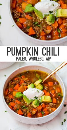 Healthy Recipes This paleo pumpkin chili is the perfect warm and cozy dish for fall! It's compliant and is easy to make AIP and nightshade free. - This pumpkin chili is rich and hearty! It's nightshade optional, paleo, and easy to make AIP. Paleo Soup, Paleo Chili, Chili Chili, Chili Food, Chili Recipes, Paleo Recipes, Soup Recipes, Paleo Pumpkin Recipes, Whole 30 Recipes