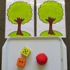 Apple Tree Play Dough Maths is a fun activity for encouraging early and basic maths skills using Apple Scented Play Dough and a set of dice.