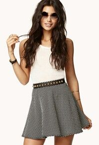 Cute classic square pattern black circle skirt