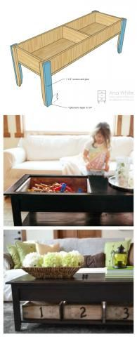 Wooden Train Table Coffee Table - DIY Ana White plans
