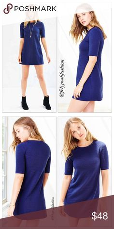 Urban Outfitters BDG Perry A Line Tee Dress Urban Outfitters BDG Perry A Line Tee Dress Blue Navy XS. Casually minimal tee dress from fashion-forward brand BDG. Textured knit in a stretchy pull-on silhouette cut short finished with fitted short sleeves and a crew-neck.Content + Care- Cotton. Tag size is XS Urban Outfitters Dresses Mini