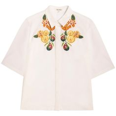 Suno Short Sleeve Embroidered Shirt (8 575 UAH) ❤ liked on Polyvore featuring tops, blouses, shirts, white, short sleeve shirts, white crop tops, short sleeve tops, white blouses and embroidered shirts