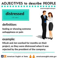 Adjectives to describe people: distressed English Speaking Skills, Advanced English Vocabulary, English Language Learning, English Lessons, Teaching English, English Adjectives, English Idioms, English Phrases, Learn English Words