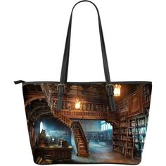 Classic Library Leather Tote Bag V.4