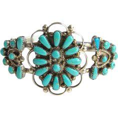Southwestern Turquoise Cuff Bracelet Signed UGB Sterling Vintage Pretty