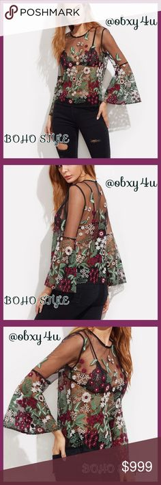 It's in❤️Boho Bell Flirty Top 🌷🍁This top is totally amazing and I am thinking about keeping it for myself🙄 Anyway I have one medium available at the moment but I am ordering more. My shoulders are about 16-17 across and it fits me perfect shoulder to shoulder and from my shoulders down length wise. This very flirty Boho style floral pattern top doesn't do justice in pics. The bell sleeves complete this. Awesome is all I can say💖💖💖 Tops Blouses