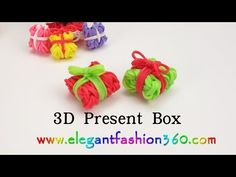 Rainbow Loom Present Box 3D Charms - How to Loom Bands Tutorial - YouTube