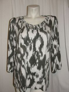 CHICO'S Womens 12/14 Top Green Ivory Detailed Neck 3/4 Sleeve Shirt Size 2 L #Chicos #Blouse #CareerCasual