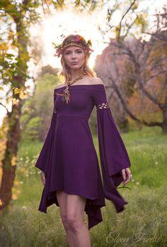 Renaissance inspired bohemian dress~ with very fun sleeves ♥️  Elf elven style dress | purple dress | short summer dress | LARP, hippie, flower girl