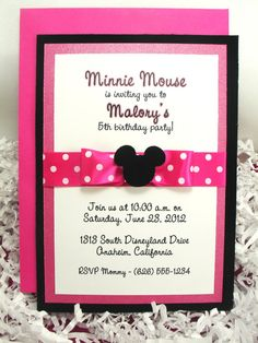 Minnie Mouse Invitations Hot Pink  Handmade Velvet by AdorableTree, $37.50