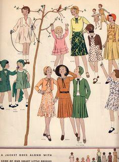Sewing Patterns For Kids, Vintage Sewing Patterns, Vintage Clothing, Vintage Outfits, Pattern Pictures, Diy Keychain, 1930s Fashion, Art Deco Era, Children Clothing