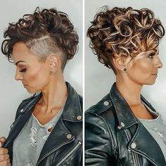 Short Curly Hair with Shaved Sides and Bangs - Best Hairstyles For Short Curly Hair: Easy and Cute Short Haircuts For Women with Curly Hair hair color 63 Cute Hairstyles For Short Curly Hair Women Guide) Curly Pixie Haircuts, Haircuts For Curly Hair, Curly Hair Cuts, Short Curly Cuts, Curly Hair Shaved Side, Shaved Sides Pixie, Shaved Side Haircut, Half Shaved Head, Frizzy Hair