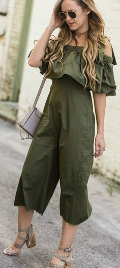 Casual date night outfit styled with a ruffle olive culotte jumpsuit, studded block heel sandals, and Chloe Faye dupe