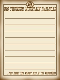 Journal Card - Big Thunder Mountain Railroad - WDW - lines - 3x4 photo by pixiesprite
