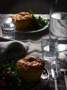 Chicken and mushroom pie, pastel de pollo y champiñones, pastel individual de pollo y champiñones, New Zealand Pie, blog cocina, receta salada