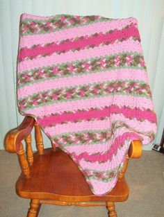 Corner to Corner Pink Camo Striped Toddler by BeyondCrochetToo