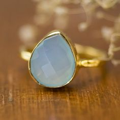 Aqua Blue Chalcedony Ring  Gemstone Ring  Stacking by delezhen, $62.00