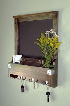 Entry Hall Way Organizer - Chalkboard, Mail, Phone, Key Hooks for Keys - All Wood, Chic, Modern Wall Mounted Chalk Board Decor